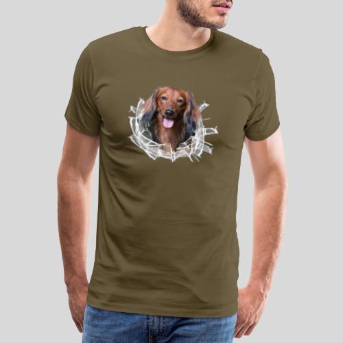 Langhaar Dackel im *Glas-Loch* - Männer Premium T-Shirt