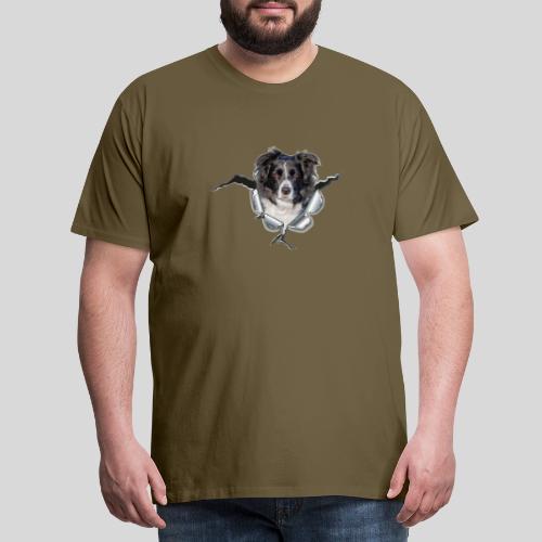 Border Collie im *Metall-Loch* - Männer Premium T-Shirt
