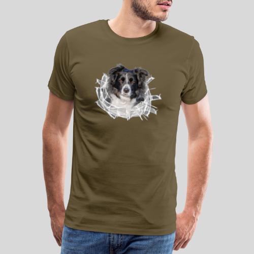 Border Collie im *Glas-Loch* - Männer Premium T-Shirt