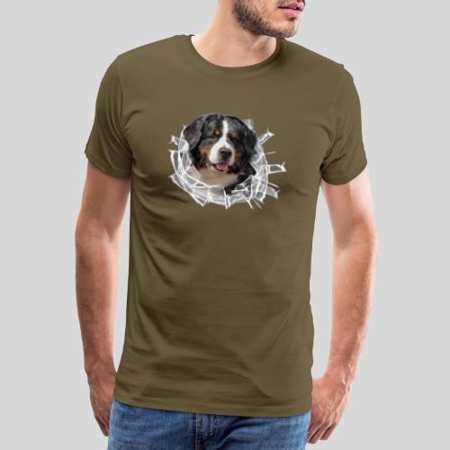 Berner Sennen Hund im *Glas-Loch* - Männer Premium T-Shirt