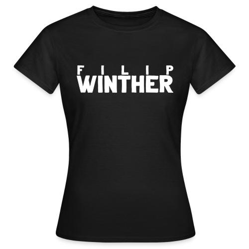 T-shirt Dam Filip Winther - Vit text - T-shirt dam