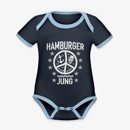 96 Hamburger Jung Peace Friedenszeichen Seil - Baby Bio-Kurzarm-Kontrastbody