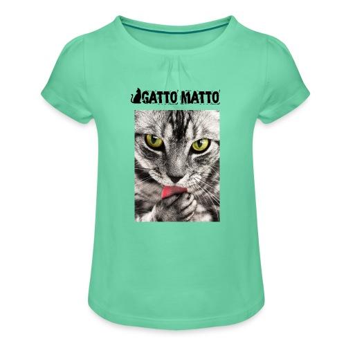 T-shirt ragazza Tobby il gattino - Maglietta da ragazza con arricciatura