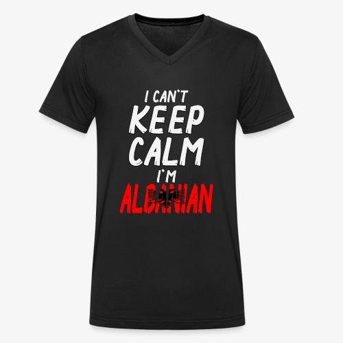 Männer Bio-T-Shirt mit V-Ausschnitt Can't Keep Calm I´m Albanian - Männer Bio-T-Shirt mit V-Ausschnitt von Stanley & Stella