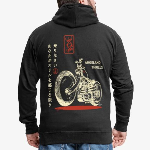 Zipped Hoodie Men - Angeland Thrills + Japanese & Bike - Red Glitter front logo + Cream & Red on the back - Men's Premium Hooded Jacket