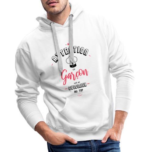 Attention cuisinier au top - Sweat-shirt à capuche Premium pour hommes