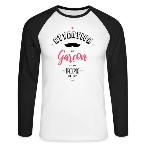 Attention papa au top - T-shirt baseball manches longues Homme