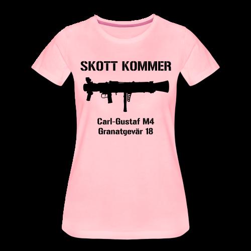 Tjej - Granatgevär 18 - SKOTT KOMMER - KLART BAKÅT - Premium-T-shirt dam