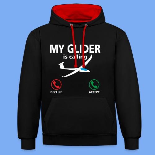 Mein Segelflugzeug ruft an - Segelflieger Spruch lustig Geschenk Tshirt Flieschen - Contrast Colour Hoodie