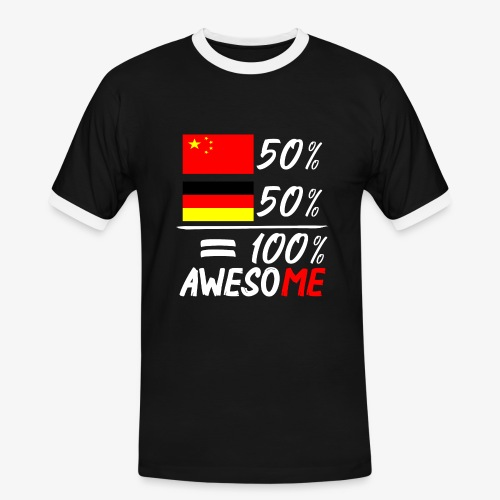 Männer Kontrast T-Shirt 50% Chinesisch 50% Deutsch - Männer Kontrast-T-Shirt