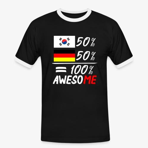 Männer Kontrast T-Shirt 50% Koreanisch 50% Deutsch - Männer Kontrast-T-Shirt