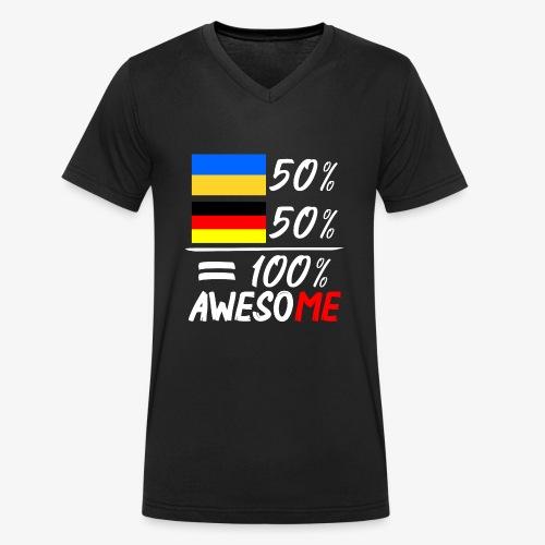 Männer Bio-T-Shirt mit V-Ausschnitt 50% Ukrainisch 50% Deutsch - Männer Bio-T-Shirt mit V-Ausschnitt von Stanley & Stella