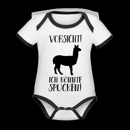 Vorsicht Spuckendes Lama Baby Geschenk Body - Baby Bio-Kurzarm-Kontrastbody