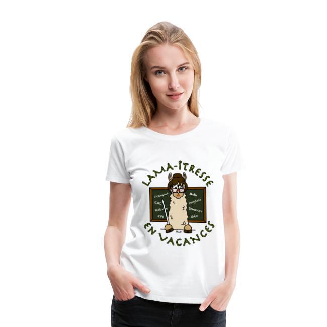 """T-shirt P femme """"Lama-îtresse"""" cadeau instit, maîtresse Lama"""