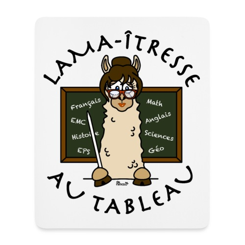 Tapis de souris Lama-îtresse cadeau instit, maîtresse, Lama - Tapis de souris (format portrait)
