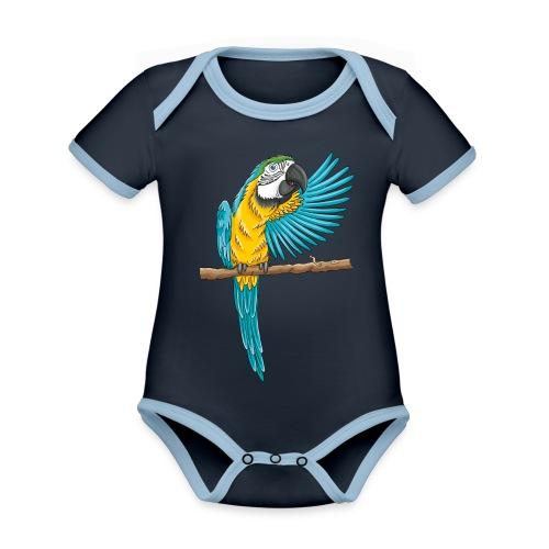 pfiffiger Papagei - Baby Bio-Kurzarm-Kontrastbody - Baby Bio-Kurzarm-Kontrastbody
