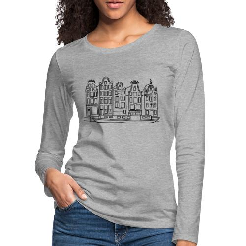 Amsterdam Grachtenhäuser - Frauen Premium Langarmshirt