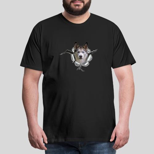Husky im *Metall-Loch* - Männer Premium T-Shirt