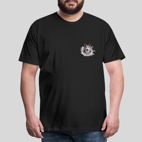 Husky im *Glas-Loch* - Männer Premium T-Shirt
