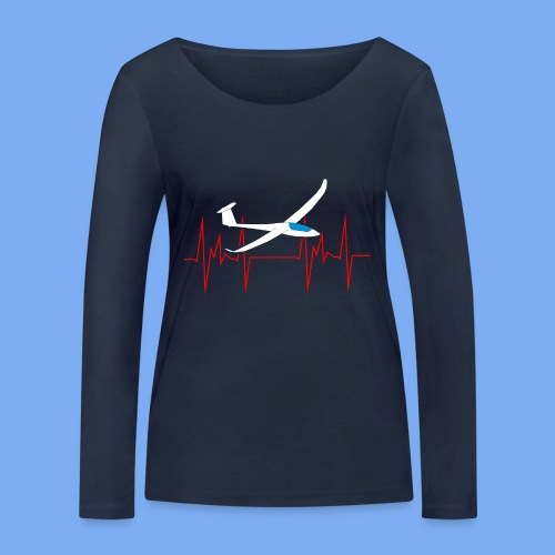 glider pilot heartbeat Segelflieger Geschenk Segelflugzeug  Discus 2b - Women's Organic Longsleeve Shirt by Stanley & Stella