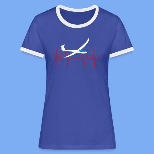 glider pilot heartbeat Segelflieger Geschenk Segelflugzeug  Discus 2b - Women's Ringer T-Shirt