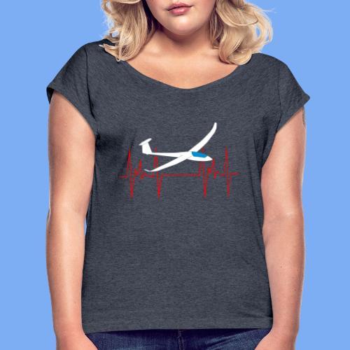 glider pilot heartbeat Segelflieger Geschenk Segelflugzeug  Discus 2b - Women's T-Shirt with rolled up sleeves