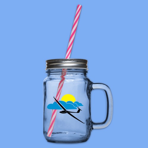 Cocktailglas mit Segelflieger Segelflugzeug - Glass jar with handle and screw cap