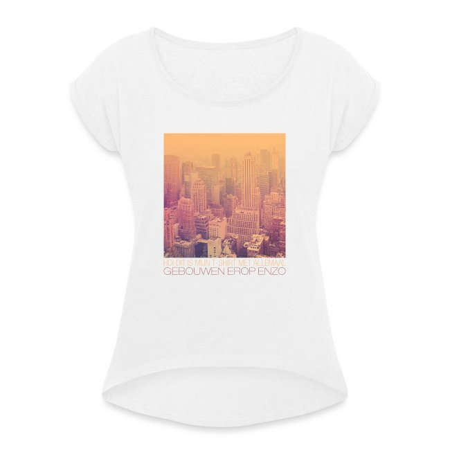 Gebouwen enzo vrouwen t-shirt met opgerolde mouwen
