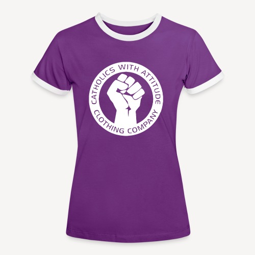 CATHOLICS WITH ATTITUDE CLOTHING CO - Women's Ringer T-Shirt