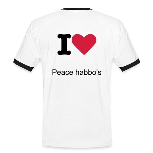 Mannen contrastshirt - I love peace habbo's.
