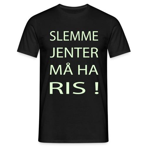 Slemme Jenter må ha Ris! (Norsk-Glow) - T-skjorte for menn