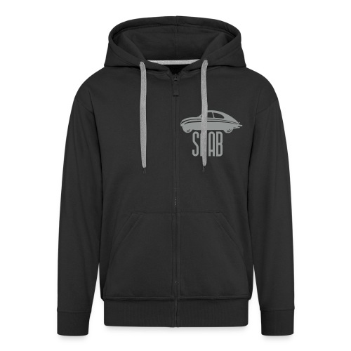Retro Saab92 Hooded (Men, Black/gray) - Men's Premium Hooded Jacket