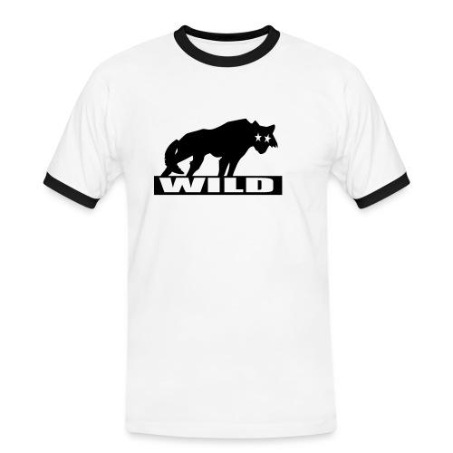 tee-shirt homme loup wild - T-shirt contrasté Homme