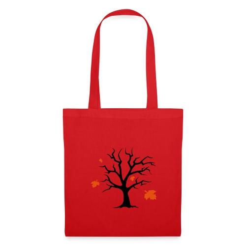 Rote Tasche mit Baum - Stoffbeutel