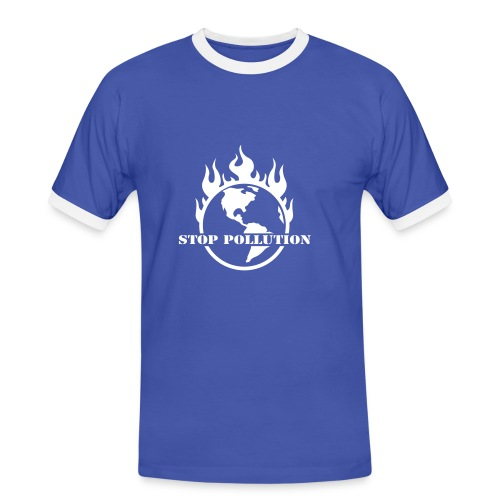 Stop pollution ! Blanc - T-shirt contrasté Homme