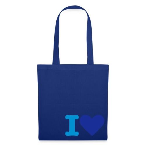 sac toile bleu I love - Tote Bag