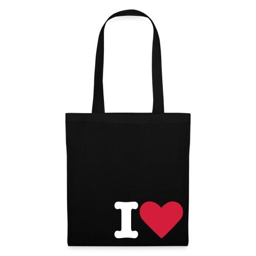 sac toile noir I love - Tote Bag