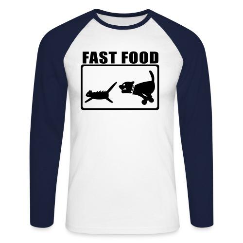 Fast Food - Langermet baseball-skjorte for menn