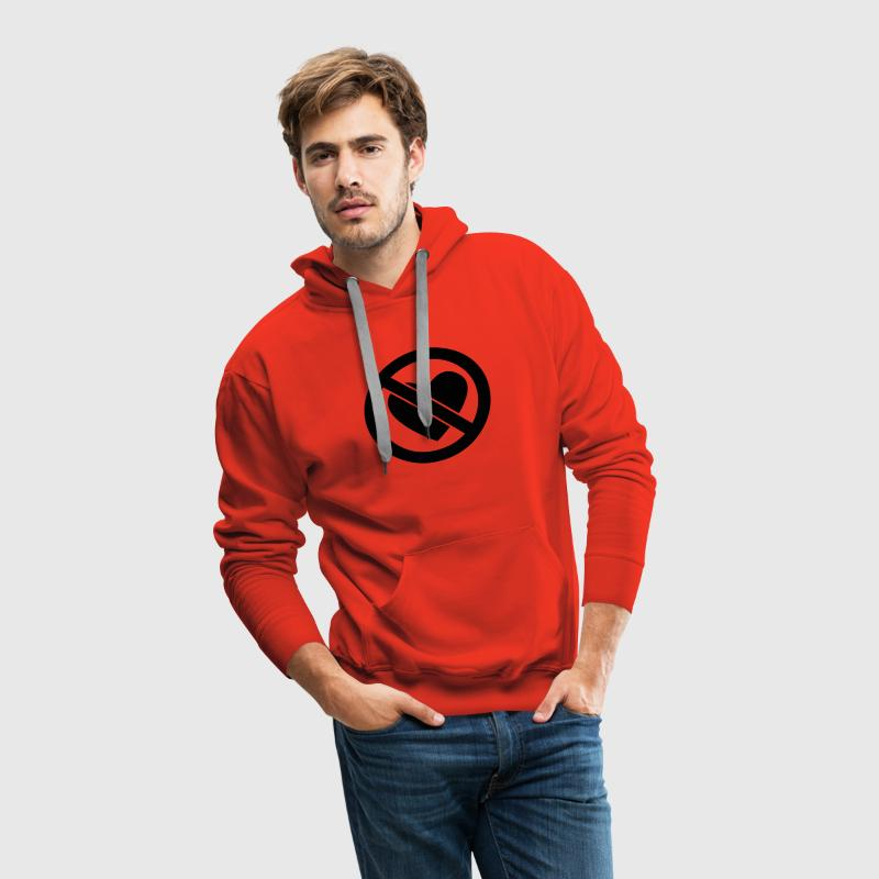 Red No Heart Men's Longsleeves - Men's Premium Hoodie