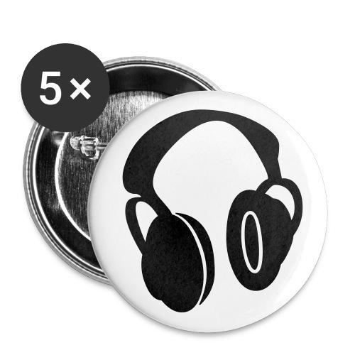 headphones black - Badge petit 25 mm