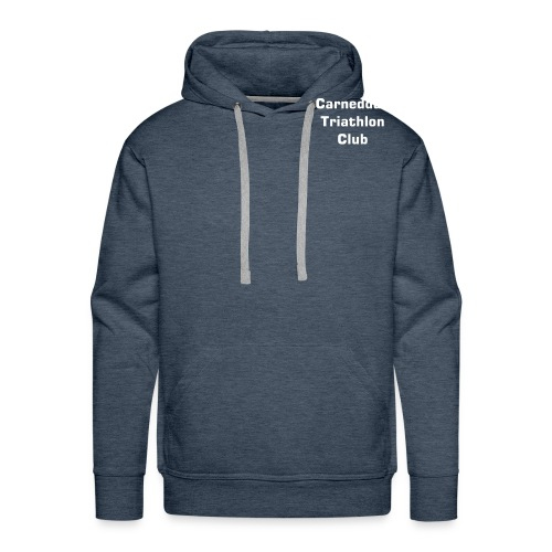 Men's Premium Hoodie - Club name on the breast Club name on the back in big text, and web address in small text . This is a darker green than the womens distressed hoodie