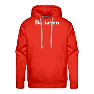 Men's Premium Hoodie - Da iawn on the front