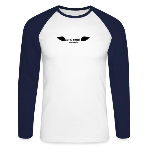 51% Angel - 49% devil - Langærmet herre-baseballshirt