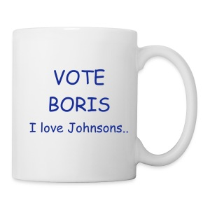 Vote Boris - I Love Johnsons.. mug in Conservative Blue over White - Mug
