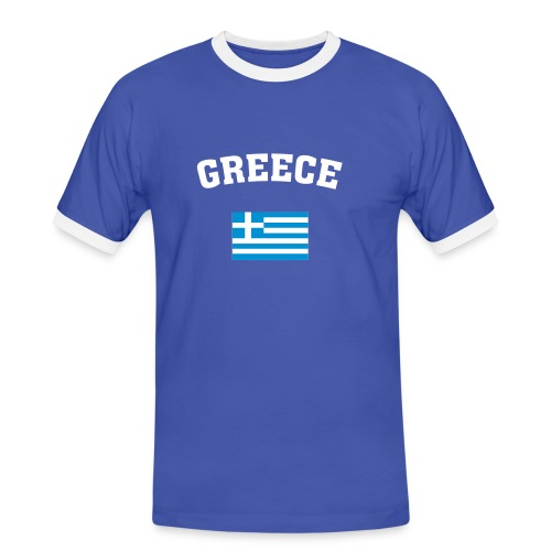GREECE + FLAG - Männer Kontrast-T-Shirt