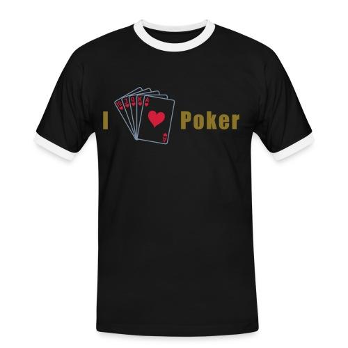 I Love Poker Mens Slim Silber-Gold - Männer Kontrast-T-Shirt