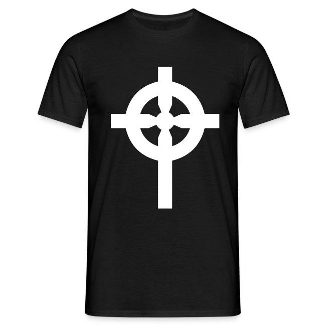 T-Shirt noir croix celte blanche devant