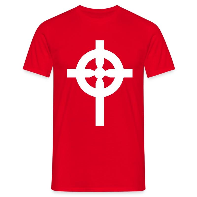 T-Shirt rouge croix celte blanche devant - T-shirt Homme