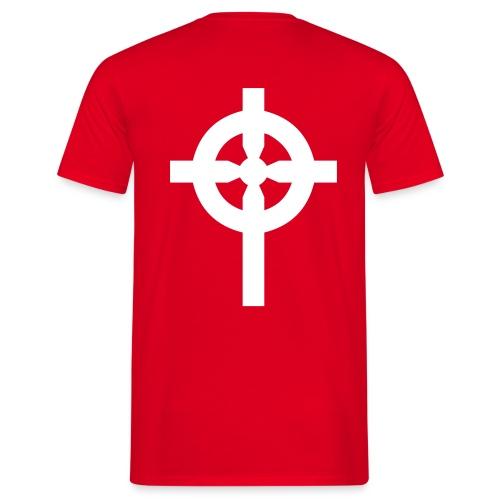 T-Shirt rouge croix celte blanche derrière - T-shirt Homme