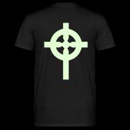 Tee shirts ~ Tee shirt Homme ~ T-Shirt noir croix celte phosphorescente derrière